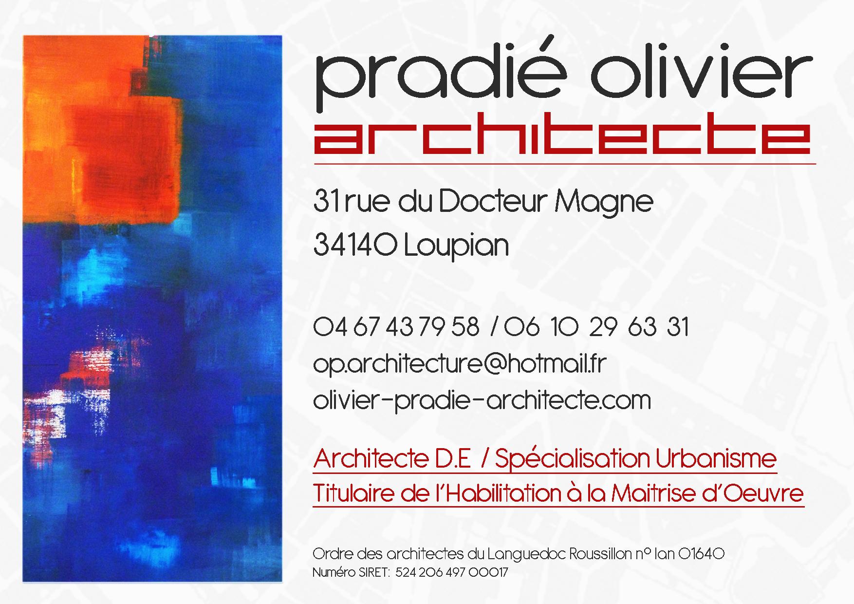 carte de visite olivier pradié architecte urbaniste Montpellier